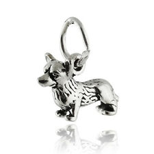 Welsh Corgi Dog Charm - 925 Sterling Silver - Pembroke Cardigan Short Legs New
