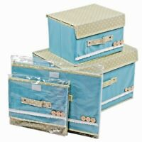 Storage Boxes Canvass Foldable with Lid Pink and Blue or both. UK Seller