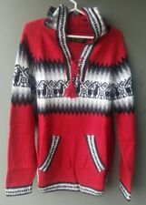 Perù Alpaca Pullover Rosso, Tgl L , Alpaca Lana Lama Reticoli Etnici Inca