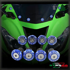 Strada 7 Racing CNC Pare-Brise Vis Carénage Kit 8pc Kawasaki ZX7R/ZX7RR Bleu