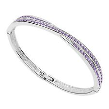 18K White Gold Plated made with Swarovski Crystal Elements Bangle Bracelet.