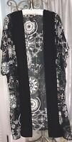 NEW Plus Size 3X Black Ivory Pink Floral Boho Open  Duster Kimono Topper