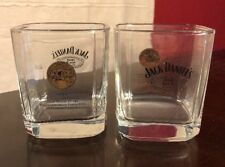 2 Jack Daniels Rock Glasses - clear raised letters and 1914 Gold Medal