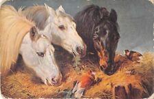 Beautiful Horses Eating From Manger by Birds-Old Postcard-John Frederick Herring