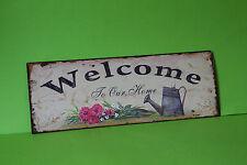 Blechschild  WELCOME TO OUR HOME  36 x 13 cm Eisen Neu