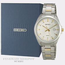 Authentic Seiko Men's Two Tone Quartz Analog Watch SUR211