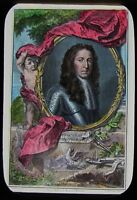 Glass Magic Lantern Slide KING WILLIAM III OF ENGLAND PORTRAIT C1890 DRAWING