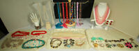VINTAGE COSTUME JEWELRY LOT 42pcs Rhinestones Shell Glass Pearls 60s Beads NICE!