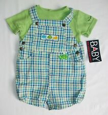 Baby Boys 6 9 Mo 2Piece Set Shirt Shorts Shortalls Seersucker NWT