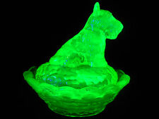 vaseline glass scottie dog salt cellar on nest basket uranium / scottish terrier