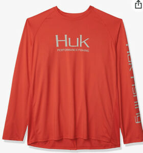 Huk Performance Fishing Men's Vented Solid Red -Sleeved Shirt-New wTags-Size XL