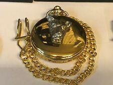 TESTA di LEOPARDO TG43 peltro su un orologio da taschino in oro al quarzo Fob