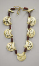 Necklace Conch Shell Etched Face Nagaland India lass Tribal Conch Shell Necklace