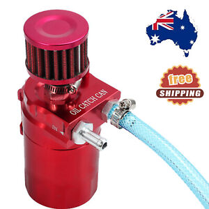 300ml Oil Catch Can Aluminum Engine Reservoir Breather Tank With Filter Red NEW