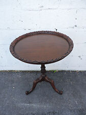 Mahogany Carved Pie Crust Side Table  7927