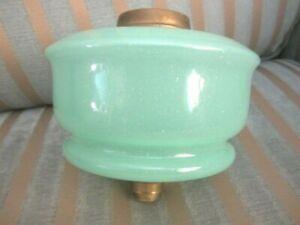 Antique  Green Opaline Glass Oil Lamp Font/Fount/Reservoir Screw Collar