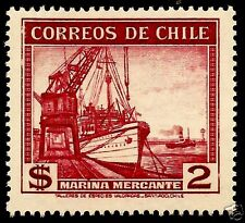 CHILE, MERCHANT MARINE, WITH WATERMARK, MNH, YEAR 1936-56