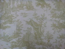 Toile Mazelle Olive Green on Ivory Background Designer Curtain Upholstery Fabric