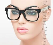 Metal Temple Marijuana Wayfarer Sunglasses Clear Lens Black Chrome T11 CL