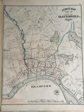 Orig 1881 G.M. Hopkins Haverhill, Massachusetts, Index Page Plat Atlas Map 13x17