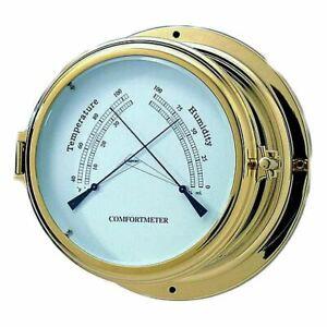 Brass Seven Inch Thermometer, Hygrometer Porthole