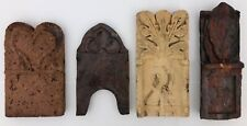 Four Antique French Glazed Terracotta Tiles Handmade for a Garden, Early 1900s