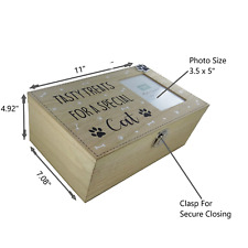 Cat Treats Box & Photo Frame Food Storage Container Holder Biscuits Toys Wood