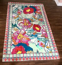 NEW Anthropologie pink turquoise teal Bight Big Floral Ethnic Border  5 x 8 Rug