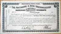 'Baltimore & Ohio Southwestern Railroad Company' 1890 Stock Scrip Certificate