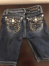 Girl's LA Idol Jean Capri Denim Shorts Size 8 Rhinestone Pockets