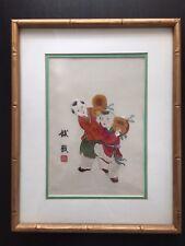 Fine Old Chinese Silk Embroidery Children Playing Jianzi Hacky Sack Art NICE NR