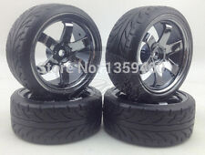 4x 1/10 rayos rota 6 habló RC Drift Ruedas Neumáticos Gris Cromo 3mm os 12mm Hex