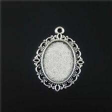 20pcs Antique Silver Alloy Lace Cameo Base Pendants Jewellery Findings 18x13mm