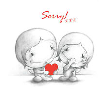 """""""Sorry"""" Card for him or her husb wife partner cute Cupids love heart red b & w"""