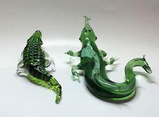 2 Original Vintage Figurine Alligator Green Mouth-Blown Russian Murano Glass