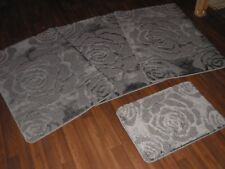 ROMANY WASHABLES SUPER THICK ROSES DESIGN FULL SET OF 4PCS DARK GREY/CHARCOAL