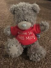 "Me To You Blue Nose Bear I Love You This Much 6"" Soft Toy Red T-shirt"