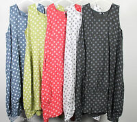 New Plus Size Ladies Italian Lagenlook Polka Dot Long 2 Pocket Linen Tunic Dress