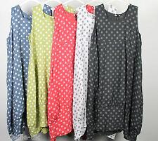 New Plus Size Ladies Italian Lagenlook Polka Dot Long 2 Pocket Linen Tunic Dress