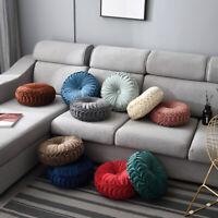 Round Pumpkin Throw Pillow Velvet Pleated Decorative Chair Cushion Floor Pad US