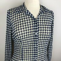 CAbi Women's Long Sleeve Semi-sheer Button Down Top Blouse Size S Navy White