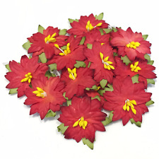 Small Red Mulberry Paper Poinsettias Card Making Craft Flowers Cb010