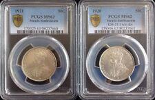 1920 1921 Straits Settlements 50c PCGS MS62 MS63 Lot Of 2 Coins Km-35.1