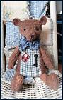 Primitive Handmade Reproduction Sitting  Old Tan Teddy Bear Rusty Key