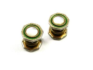 Deco Silvertone Mother of Pearl Green Snap Link Cufflinks Unmarked 102714