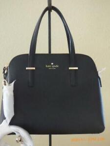 NWT Kate Spade Dome Leather Mazie Black Silver Convertible Handbag Purse Bag