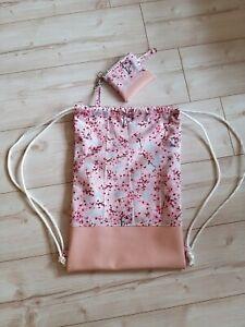 Turnbeutel handmade Rucksack Set Blumen Kirschblüten Kunstleder  Traumhaft
