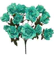 14 Open Roses MANY COLORS Wedding Centerpieces Bridal Bouquet Silk Flowers
