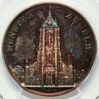 BURGUNDY TONING Ulm Minster 1844 German States Baden Nau-242 Silver, PCGS SP64