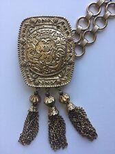 Signed PAULINE RADER Couture Belt, Large Renaissance Revival Tassel Medallion